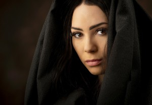 modeling headshot with head covering