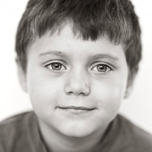 child model headshot B&W